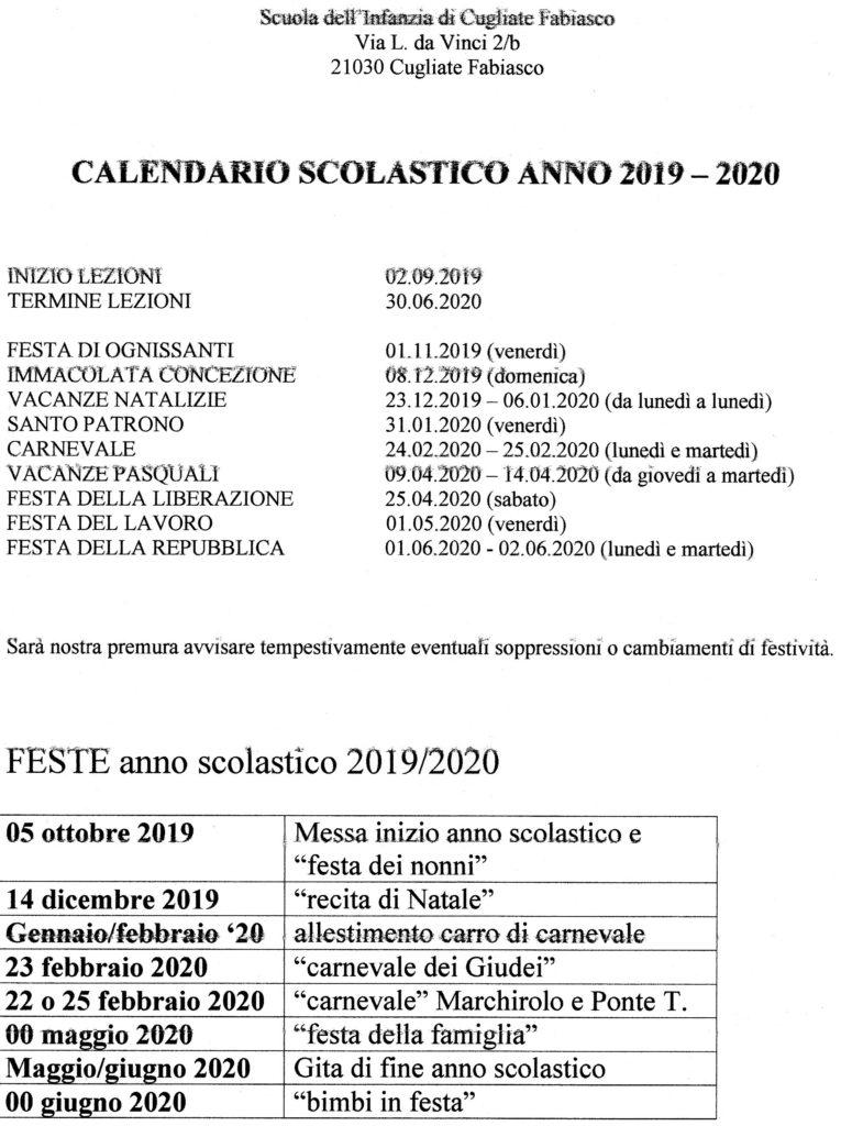 Calendario Maggio Giugno 2020.Calendario Scolastico 2019 2020 Scuola Infanzia Cugliate